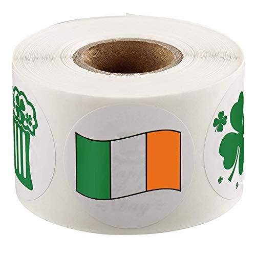 Moent Calcomanías de trébol del día de San Patricio, fiesta irlandesa de 2,5 cm, etiqueta autoadhesiva para decoración de fiestas (1 rollo de 500 piezas)
