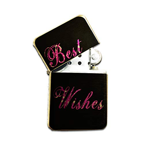 Pink Best Wishes Hearts - Gold Refillable Pocket Lighter Windproof Flip-Top Survival Camping Cigar Flame Igniter