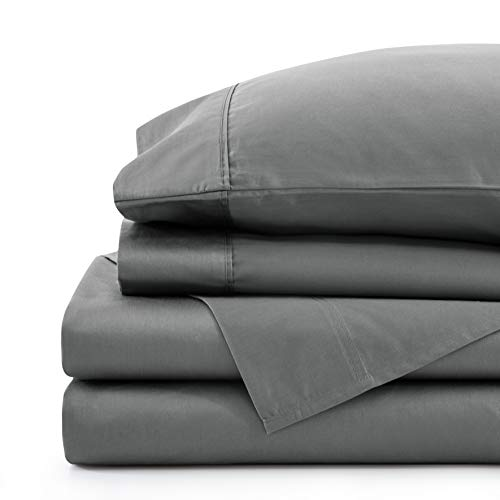 Marina Decoration 800 Thread Count Ultra Soft Luxury Deep Pocket Hotel Standard Solid Long Staple 100% Cotton All Season 4 Pieces Sheet Set with Elastic Corner Straps, Grey Color King Size