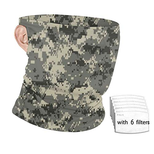 Camo Hunting Camouflage Multifunction Bandana Ear Loops with 6 Filter, Dustdproof Neck Gaiter Headwear, UV Protection Face Scarf Mask Balaclava for Motorcycle Running