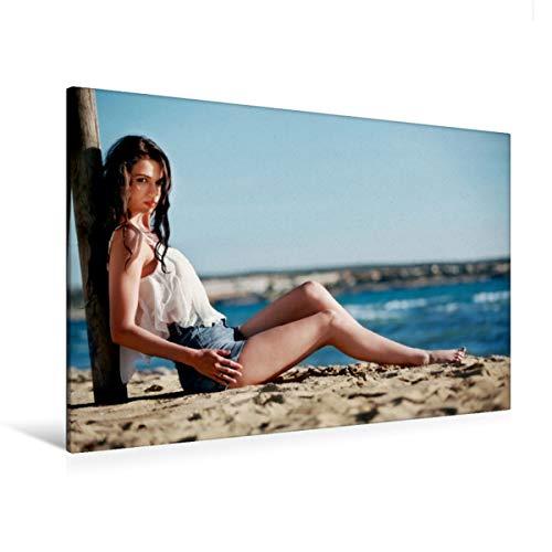 Premium Textil-Leinwand 120 x 80 cm Quer-Format Lara von Känel - Beach und Summer | Wandbild, HD-Bild auf Keilrahmen, Fertigbild auf hochwertigem Vlies, Leinwanddruck von Rod Meier