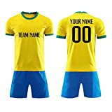 SPORTLAUKEXIN Custom Country Soccer Jerseys for Men & Boys - Personalized Team Uniforms for Casual Outfit (Brazil Yellow, Adults XL)