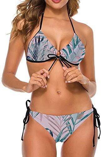 my cat Bikini 2-teiliges Set/umweltfreundliches Badebekleidungs-Geschenkset Bikini - Dreieck-Set Blütenpflanze Tropische Pflanzen Bunte Blätter-Farbe3-XX-Groß