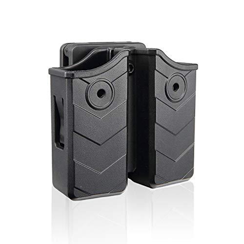 efluky Universal Portacargador Doble Portacargador Funda para Pistola Cargador Bolsa para H&K USP FS/Compact 9mm/.40/Beretta 92/Golck/Beretta/CZ/Walther P99/Sig Sauer, Belt Clip 60°Adjustable