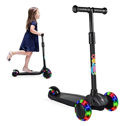 Mantimes Scooter para niños, Patinete de 3 ruedas para niños pequeños con bloqueo de dirección, 4 altura ajustable, Kick Scooter niño con ruedas intermitentes para niños y niñas de 3 a 8 años (negro)