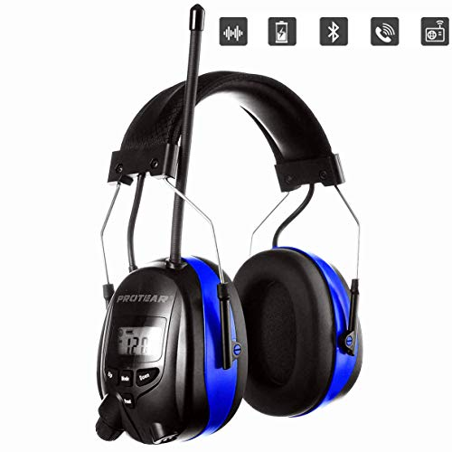 PROTEAR Bluetooth AM FM Radio Headphones, NRR 25dB Noise Reduction Safety Earmuffs, Rechargeable...