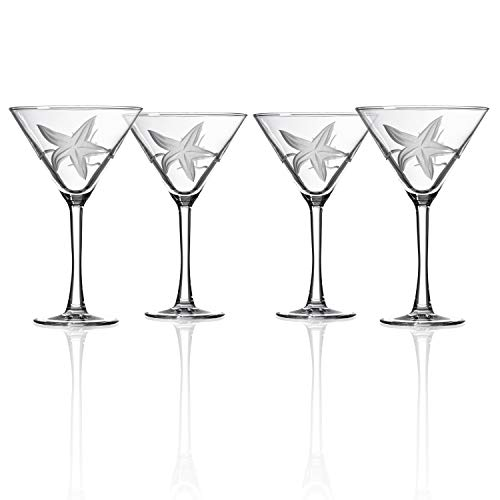 Rolf Glass Starfish Martini Glass 10 Ounce - Set of 4 Stemmed 10 ounce Martini Glasses - Lead-Free Crystal Glass - Diamond-Wheel Etched Cocktail Glasses - Made in the USA