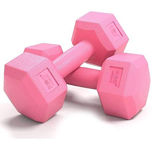 Mancuernas Hexágono Pesas, Un par de Dos, Entrenamiento de los músculos del Brazo de los Hombres, el Equipo casero de la Aptitud, 5 kg 10 kg 15/20 kg de Goma Color : Pink, Size : 2kg*2(8.8lb)