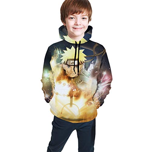 SDMFUNS Naruto and Sasuke Wallpaper Youth Boys 3D Print Casual Pullover Hoodie Hooded Seatshirts Tops Blouse with Pocket 7-20Y