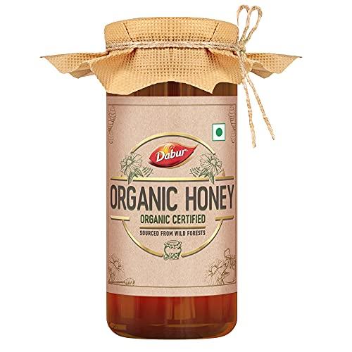 Dabur Organic Honey | 100% Pure and Natural | NPOP Organic Certified | Raw , Unprocessed , Unpasteurized Honey | No Sugar Adulteration – 300gm