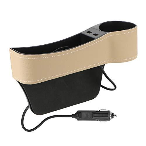 CCHAO Organizador De Automóviles Auto Crevice Pocket Dual USB Cargador Teléfono Titulaciones Titulares Titular del Asiento Gap Gap Caja De Almacenamiento De Cuero Accesorios para Automóviles