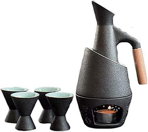 WQF Juego de 7 Sake de cerámica con Olla para Calentar y Estufa de Vela, Textura pintoresca esmaltada en Negro, Estilo Tradicional japonés, Juego de Regalo para Servir, Juego de Sake para Regalo