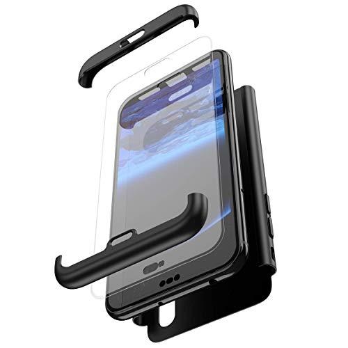 Coque Huawei P20 Lite Intégral 360 Degrés Full Body Coque + Verre trempé Film de Protection,PC Rigide Coque Hybride Robuste Coque 3 in 1 Exact Fit Avant et Arrière Etui pour Huawei P20 Lite,Noir