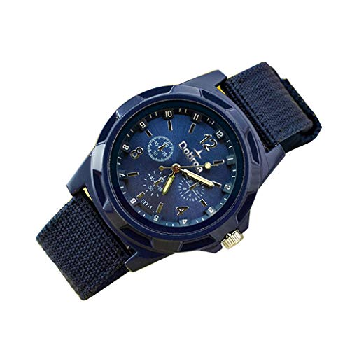 Military Watch,Men Analog Watches Army Filed Tactical Sport Wrist Watches Canvas Strap Calendar Date (Purple -3)