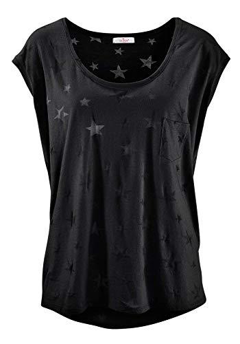 ELFIN Damen T-Shirt Kurzarmshirt Basic Tops Ärmelloses Tee Allover-Sternen Ausbrenner Shirt Sommer Shirt X-Large Charme Schwarz