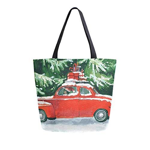 Bolsa de lona para mujer, diseño de coche rojo en el techo, de bosque verde, ideal para viajes, trabajo, compras, compras, bolso grande, reutilizable, bolsas de hombro de algodón