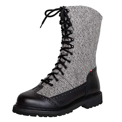 Dachstein Damen Dirndl-Schuhe Alpiner Freizeitstiefel Edelweiss in Grau Trachten-Schuhe, Schuhgröße:37 EU, Farbe:Grau