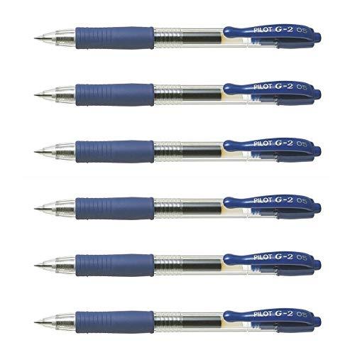 Pilot G2 05 - Lote de 6 bolígrafos de tinta de gel (punta fina), color azul