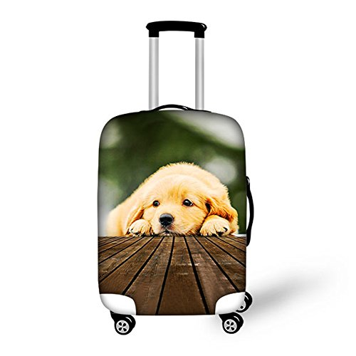 HUGS IDEA Cute Puppy Pet Dog Print Elastic Protective Covers for 18/20/22 Inch Luggage