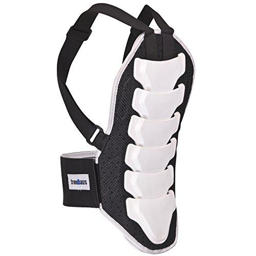 trendbasis Rückenprotektor für Ski und Snowboard - effektiver Schutz der Wirbelsäule - Größe S (Körpergröße 150-160cm) - Protektorplatten: Weiss