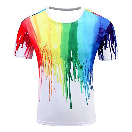 KIRALOVE Taglia M - t-Shirt - Maglia - Maglietta - Manica Corta - Vernice - Macchia - Multicolore - Arcobaleno - Rainbow - Adulti - Donna - Uomo - Unisex- Idea Regalo