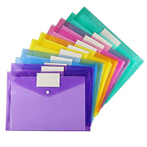 20 Pack Plastic Envelopes Poly Envelopes, Sooez Clear Document Folders US Letter A4 Size File Envelopes with Label Pocket & Snap Button for Home Work Office Organization, Assorted Color