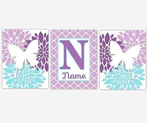 At the price Girls Nursery Decor CANVAS Wall Art - Purple Name Personalize A Large discharge sale