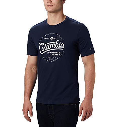 Columbia M Path Lake Bedrucktes Kurzarm-T-Shirt für Herren , Blau (Collegiate Navy Round Bound), L