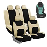 FH Group Light Breathable Durable Washable Flat Foam Padding Cloth Full Set Car Seat Covers, Airbag & Split Compatible w Gift - Universal Fit for Cars Trucks and SUVs (Beige/Black)