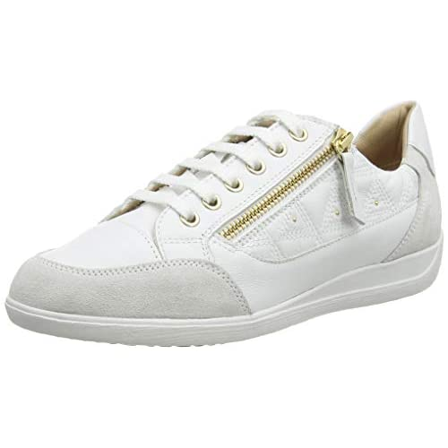 Geox D Myria C, Sneakers Base Donna, Bianco (White/off White C1352), 36 EU