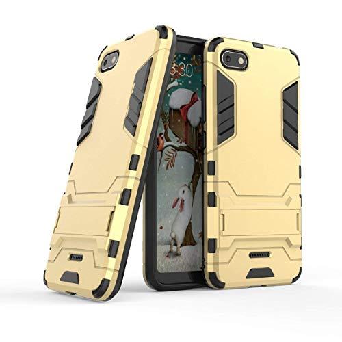MaiJin Funda para Xiaomi Redmi 6A (5,45 Pulgadas) 2 en 1 Híbrida Rugged Armor Case Choque Absorción Protección Dual Layer Bumper Carcasa con Pata de Cabra (Dorado)