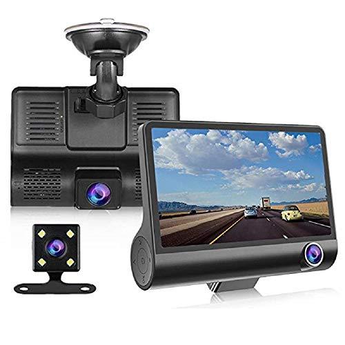 Cámara de Coche Dash CAM 1080P FHD DVR Pantalla LCD de 4 Pulgadas Gran Angular de 170 °, Tres Lentes, G-Sensor, WDR, Monitor de Aparcamiento, Grabación en Bucle, Detección de Movimiento