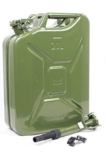 Baumarktplus Metallkanister Benzinkanister 20l + Ausgießer flexibel olivgrün pulverbeschichtet TrutzHolm® by