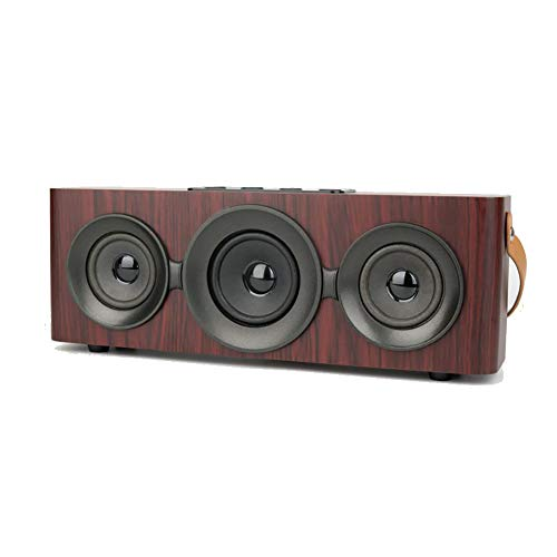 Wooden Bluetooth Speaker Portable Retro Outdoor Wireless Speaker with Portable Strap Dual Speaker Memory Player Handsfree Call FM Radio, TF Card Slot, AUX Best for Home Desktop,Red