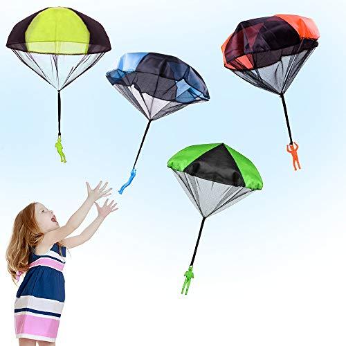 Eyscoco Fallschirm Spielzeug Kinder,4 Stücke Fallschirmspielzeuge Kinder Hand Werfen Fallschirm Männer Flugspielzeug Set,Für Kinder Outdoor Parachute Kinderdrachen Geschenk