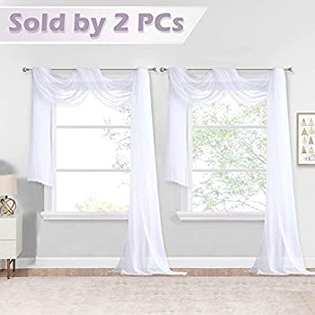 NICETOWN White Sheer Window Scarfs 216 inch Extra Long Soft Voile Textured Bed Canopy Scarf Curtains for Event Designs/Home Decor 60 inches Wide Set of 2