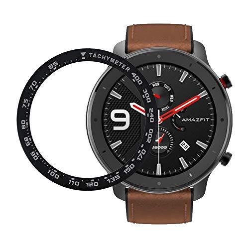SPGUARD Hülle Kompatibel mit Amazfit GTR 47 mm Bezel Styling/Huawei Watch GT 46 mm Bezel, Classic Lünette Ring Adhesive Cover Anti Scratch Edelstahl Schutz-Schwarz