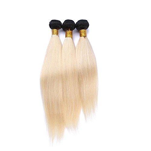 Mila 3 Tissage Ombre Blond Platine 1B/613# 100% Naturel Humain Cheveux Bresilienne Raides Meches (18\