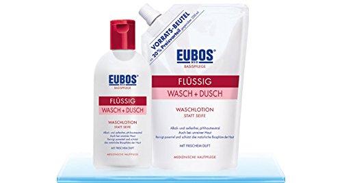 Flüssig Wasch + Dusch, Spar-Set 5x400ml.Wasch-, Dusch- und Badeemulsion zur täglichen, medizinisch schonenden Körperreinigung für normale, Mischhaut und unreine Haut. In praktischen Vorratsbeuteln
