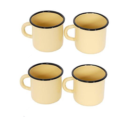 4 tasas de Metal esmaltado - Amarillas - 250 ml - 8 cm