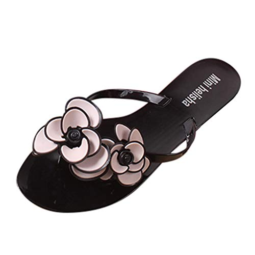 Women Wedge Summer Beach Sandals Bohemian Floral Open Toe Casual T Strap Soft Elastic Platform Sandals by Nevera