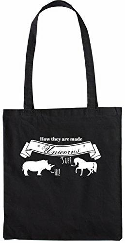 Mister Merchandise Tasche How Unicorns Are Made Einhorn Stofftasche, Farbe: Schwarz