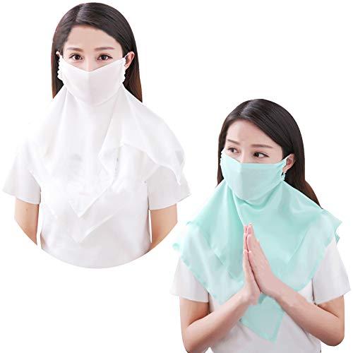 2 Stuks 100% Zijde Gezichtsmasker Gezichtsmasker Sjaal Bandanen voor stof, Buiten, Fietsmasker, Festivals, Sport, Zonnebrandcrème Gezichtsmasker Wit+groen