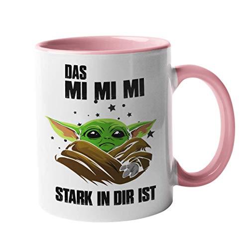 handmade Tasse mit Spruch Mimimi! - Geschenk - Beste Freundin - 100% Spülmaschinenfest (weiß-pink)
