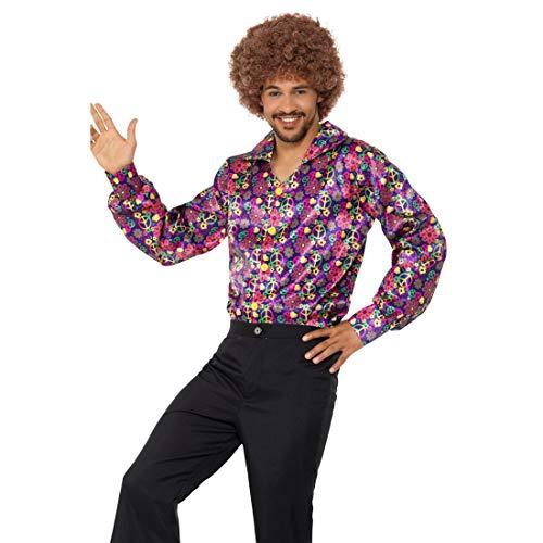 NET TOYS Buntes Hippiehemd mit Peace-Zeichen | Größe L (52/54) | Extravagantes Herren-Outfit 60er & 70er Jahre Männerhemd | Perfekt geeignet für Mottoparty & Schlagerparty