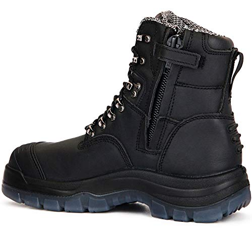 ROCKROOSTER Work Boots for Men,8 inch Steel Toe Slip On Leather Boots,Side Zipper,Static Control,Non-Slip,Breathable,Quick Dry,(AK245Z 8)