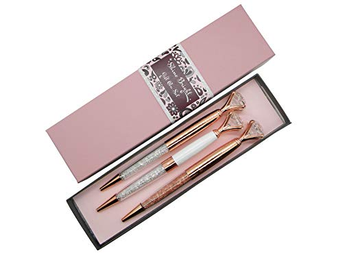 Pen Gift Set for Women - 3 Rose Gold Big Diamond Pens with Crystals in a Pink Gift Box – Rose Gold, White, Rose Gold, Fancy, Bling Top Ballpoint Writing Pens, Black Ink/Medium Point