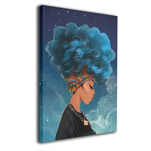 Cool Africa Woman with Blue Natural Hair Comtemporary Canvas Wall Art Photo Printed On