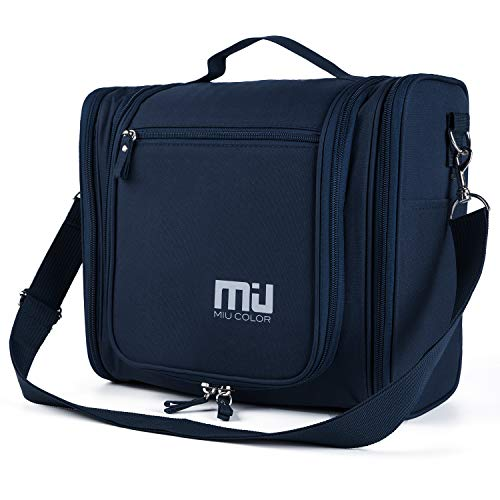 MIU COLOR Toiletry Bag Travel Bag with Hanging Hook, Portable Water-resistant Organizer Makeup Cosmetic Toiletry Kit for Bathroom Accessories and Personal Items for Women and Men (Navy)