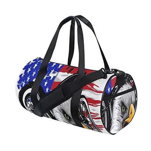 ZOMOY Bolsa de Deporte,Una Motocicleta con Cabeza águila Bandera Americana,Nuevo de Cubo de impresión Bolsas de Ejercicios Bolsa de Viaje Equipaje Bolsa de Lona